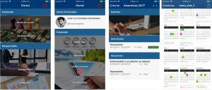 pantallazos del portal mobile de equilibrha para recursos humanos